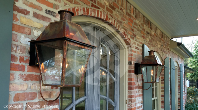 Sheryl S New Orleans Style Gas Lantern With Solid Top And Steel Wall Bracket